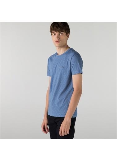 Lacoste Lacoste Erkek Slim Fit Bisiklet Yaka Desenli Mavi T-Shirt Mavi